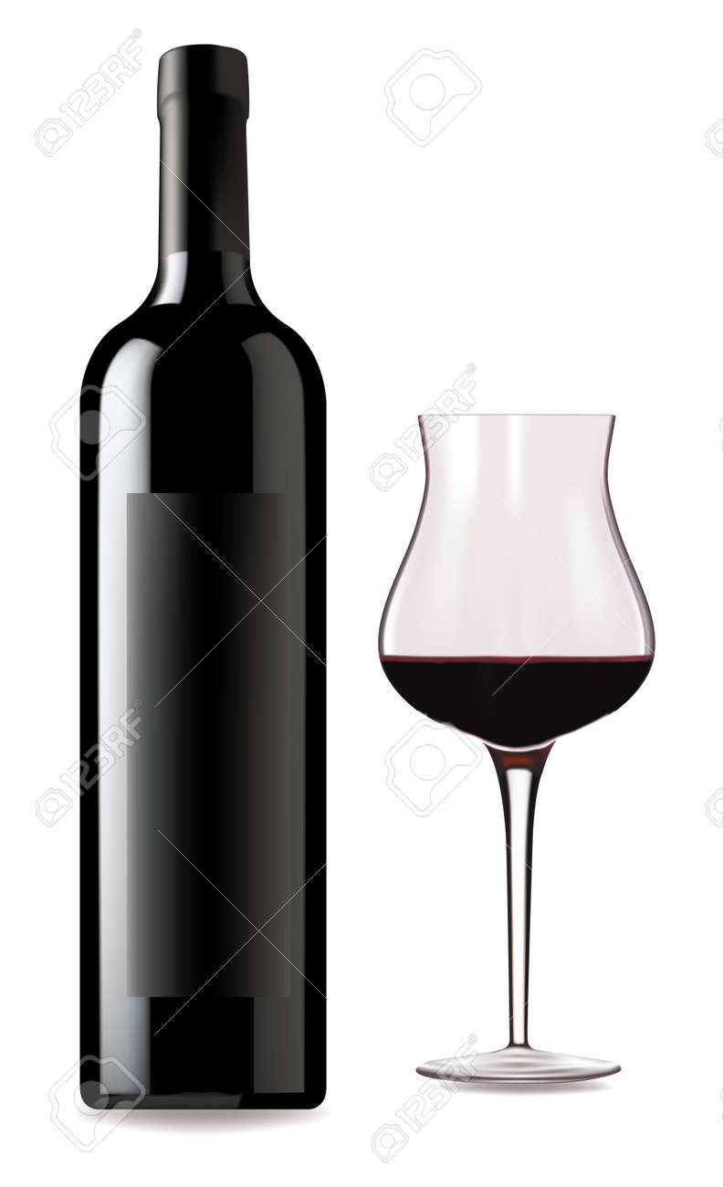 glass of red wine and bottle on a white background stock vector 9214634 bottle red wine