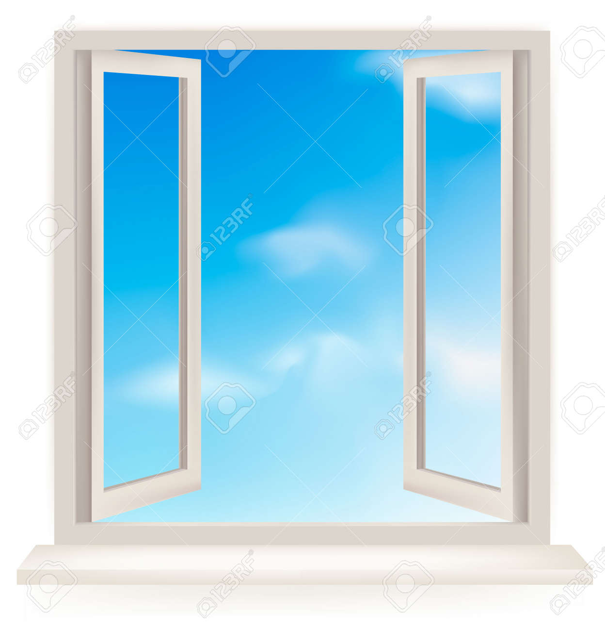 Open window against a white wall and the cloudy sky. - 9304498