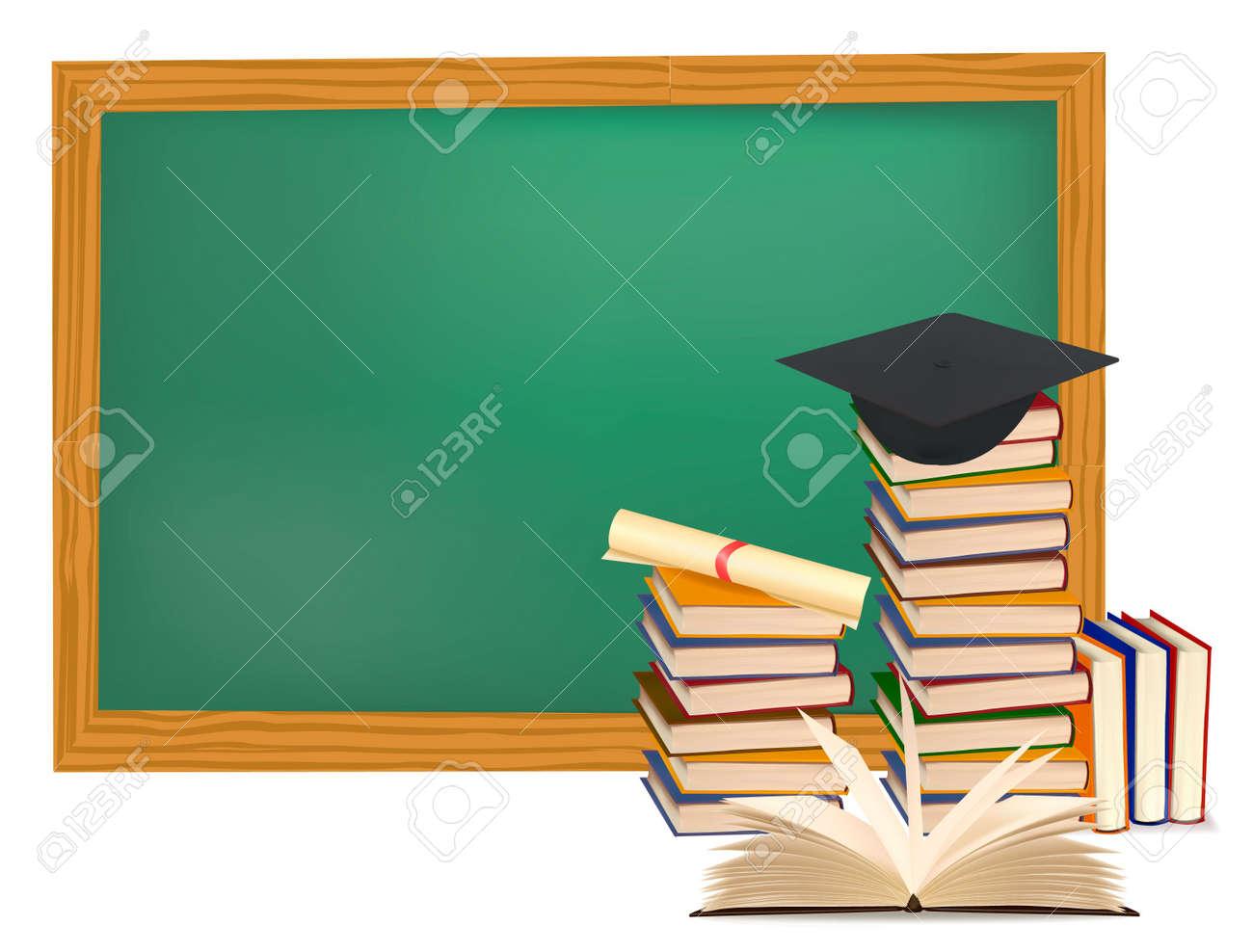 Pila De Libros Coloridos Y Cap De Graduación. Ilustraciones ...