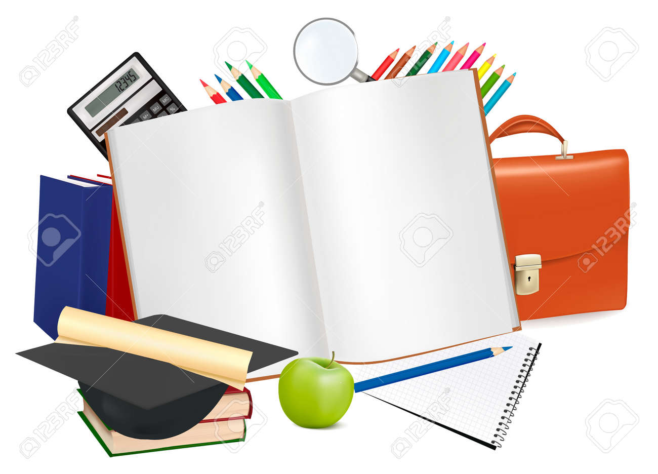 Back to school. Notepad with school supplies. Stock Vector - 9424143