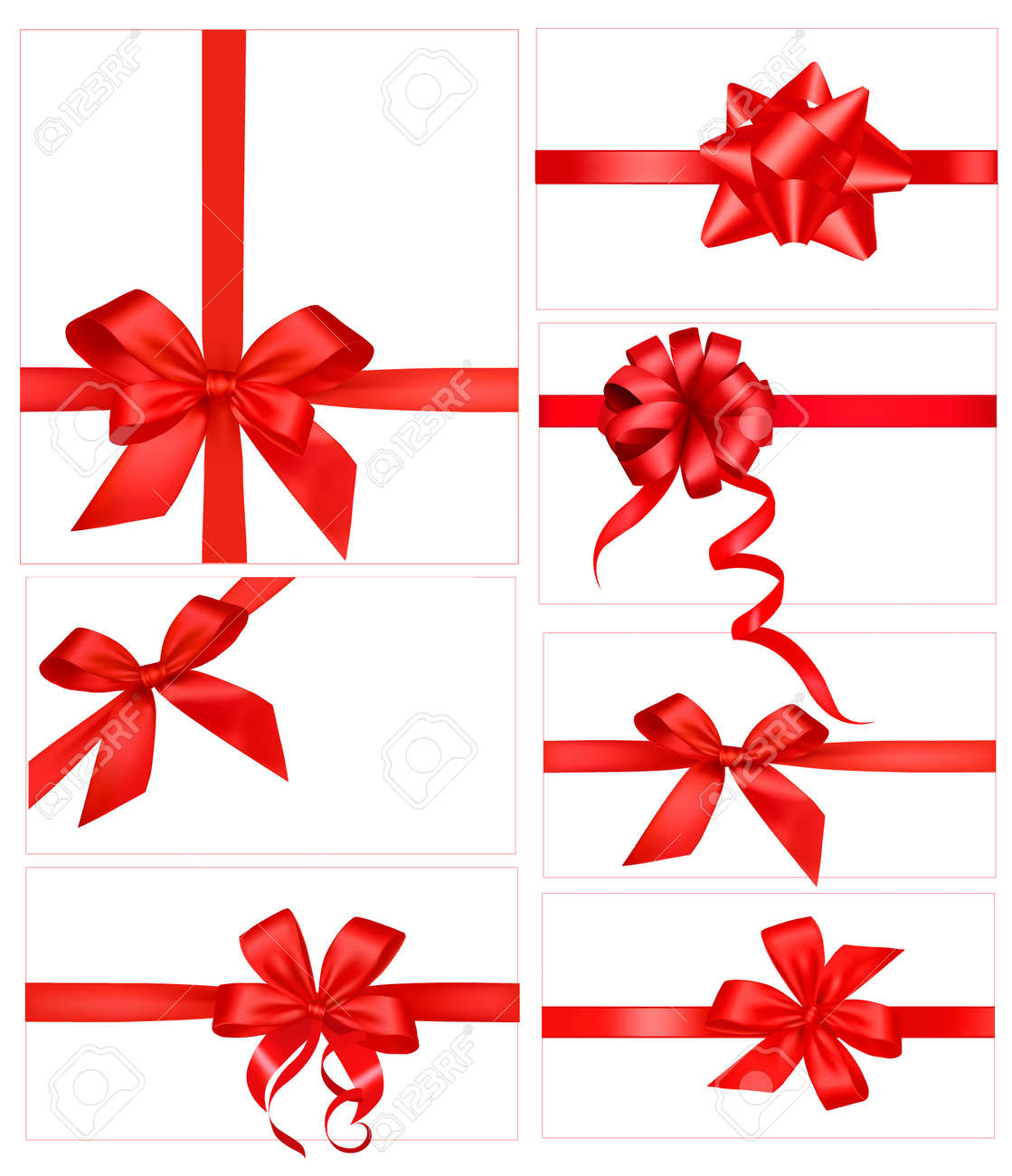 Red gift bows border with clipping path for easy background removing - Red Bow Big Set Of Red Gift Bows With Ribbons Illustration