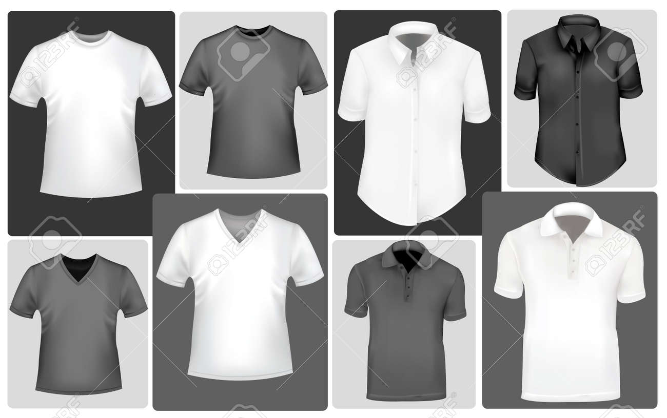 Black and white men and women shirts. Photo-realistic vector illustration. Stock Vector - 9459893
