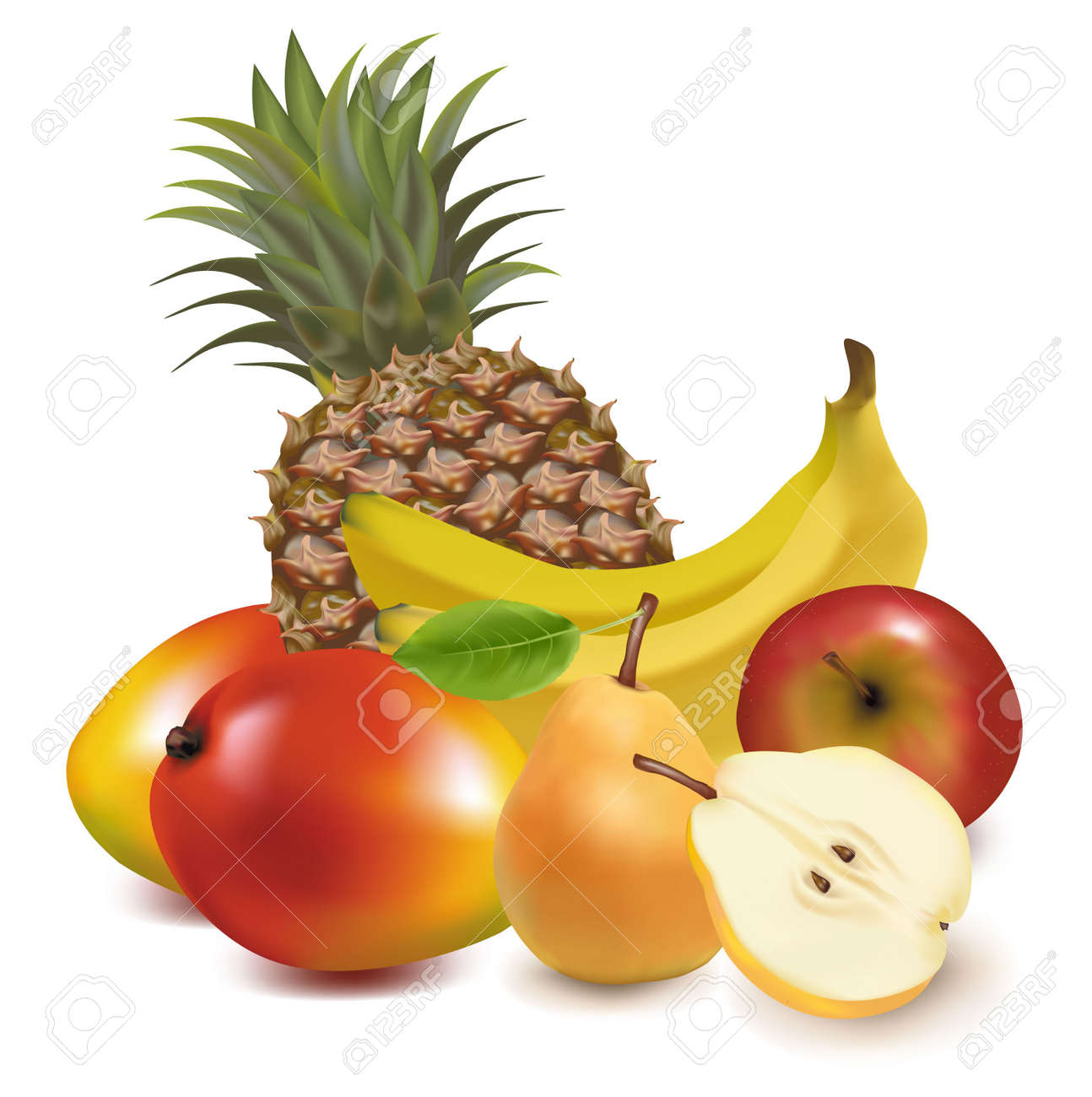 Photo-realistic vector illustration. Big group of exotic fruit. - 9459901