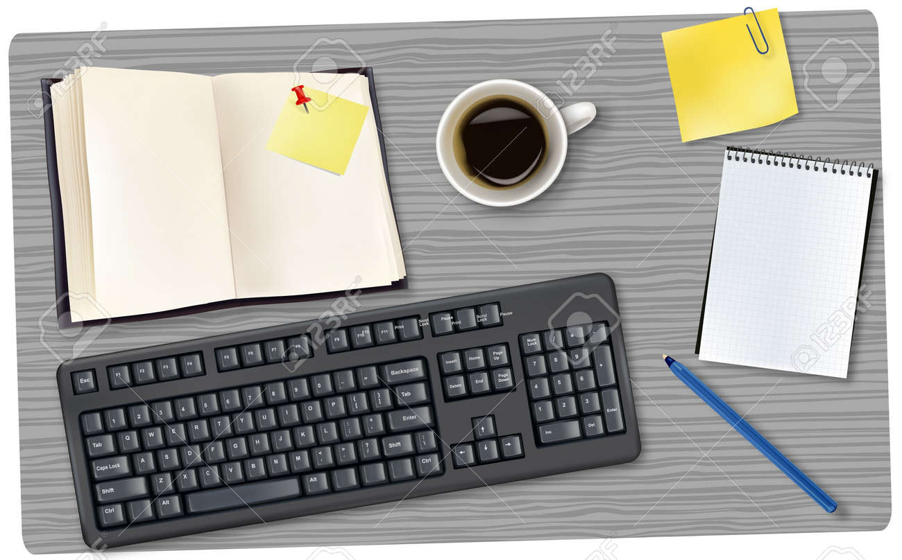 Black keyboard and office supplies laying on the board. Vector. Stock Vector - 9459913