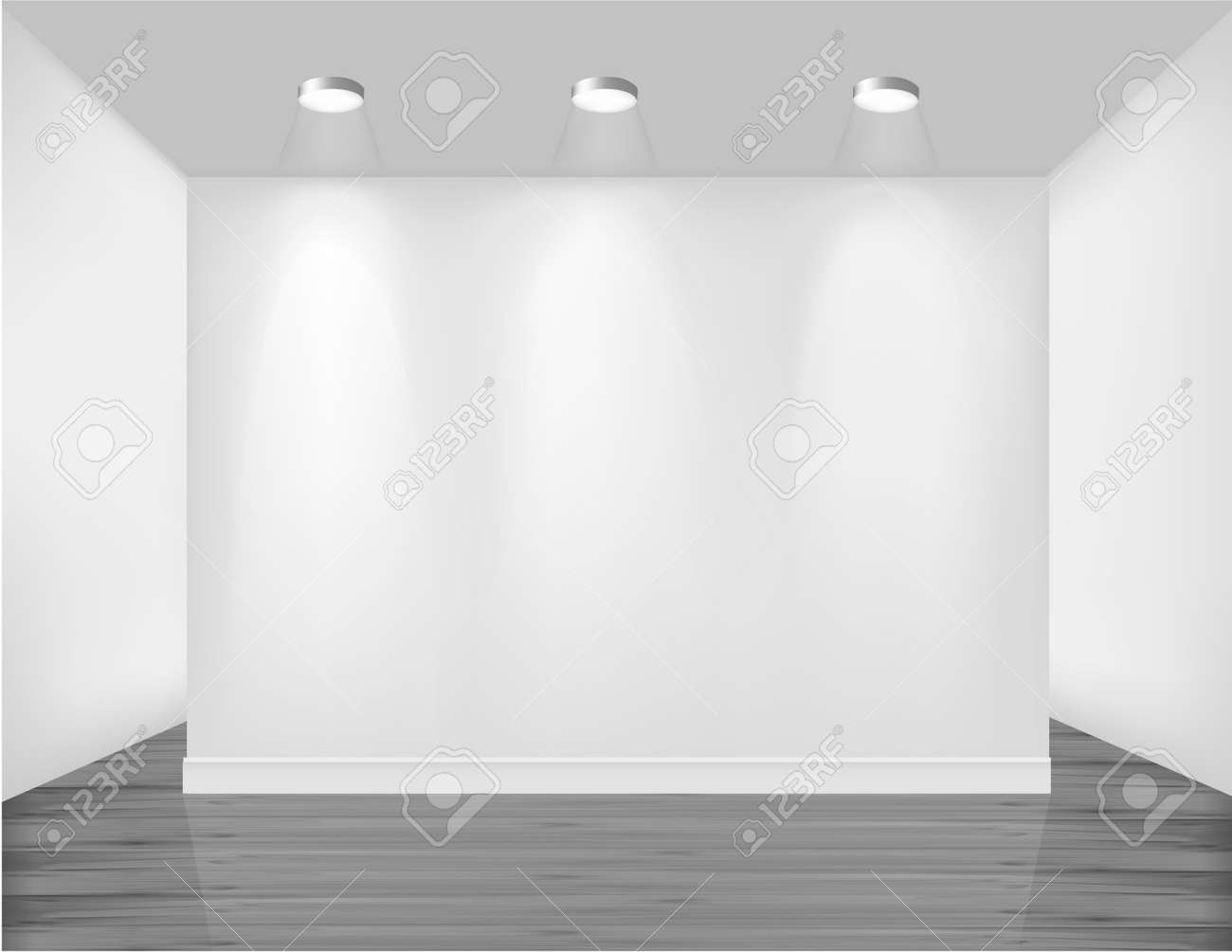 Empty Frame On Wall With Spot Lights And Wood Background. Vector ...