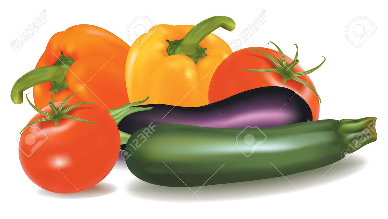 The big colorful group of vegetables. Photo-realistic vector. Stock Vector - 9538534