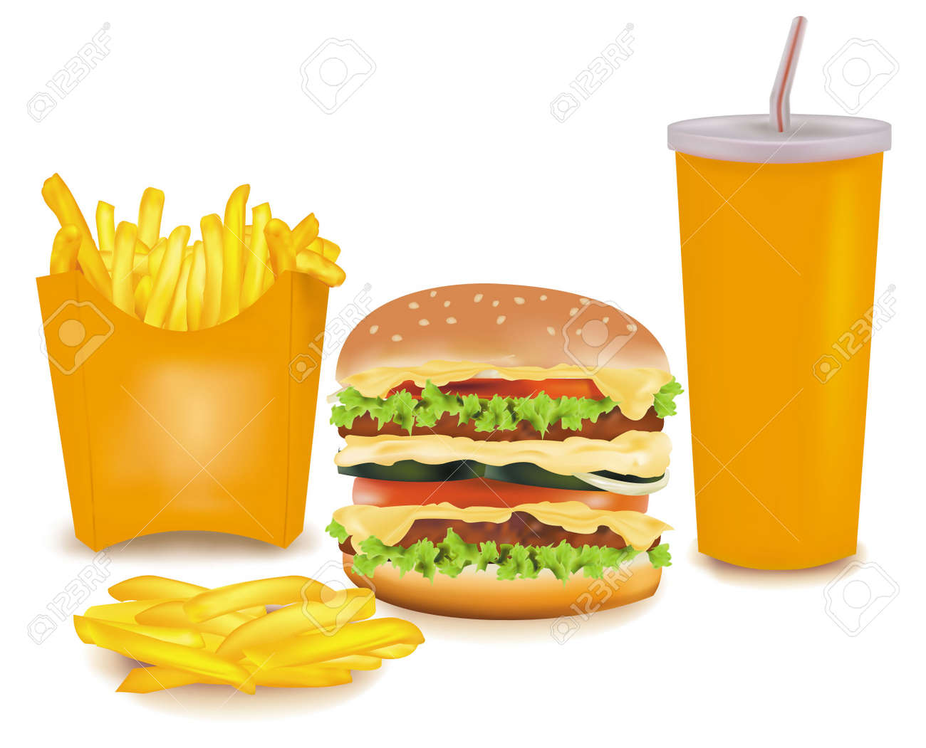 Photo-realistic vector. Big group of fast food products. Stock Vector - 9635376