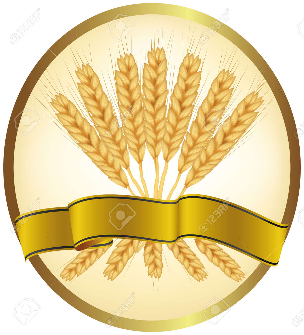 Ears of wheat and ribbons Stock Vector - 9665048