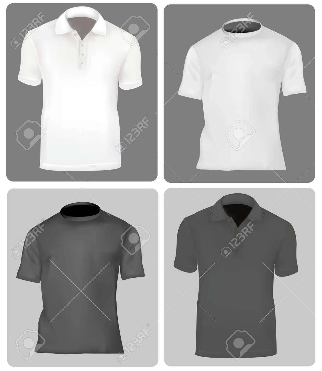 Dessin polo vetement - Deux Polos Et Deux T Shirts Hommes Noir Et Blanc Banque
