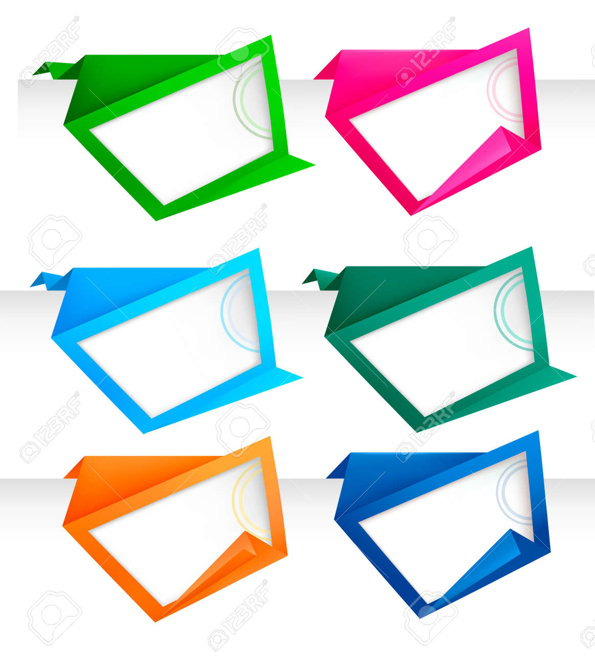 Set of abstract origami paper banners. Vector background. Stock Vector - 9720876