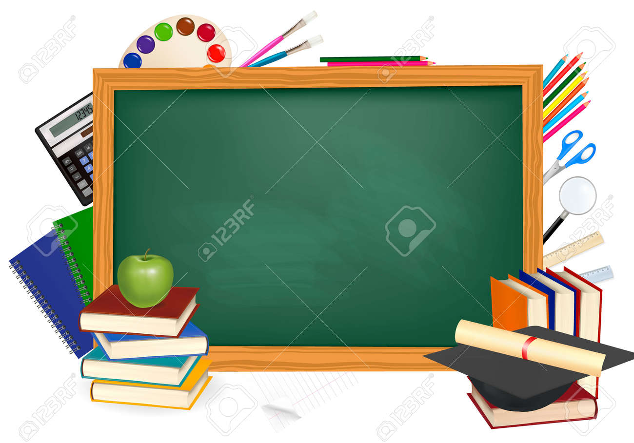 Back to school. Green desk with school supplies. Vector. Stock Vector - 9924155