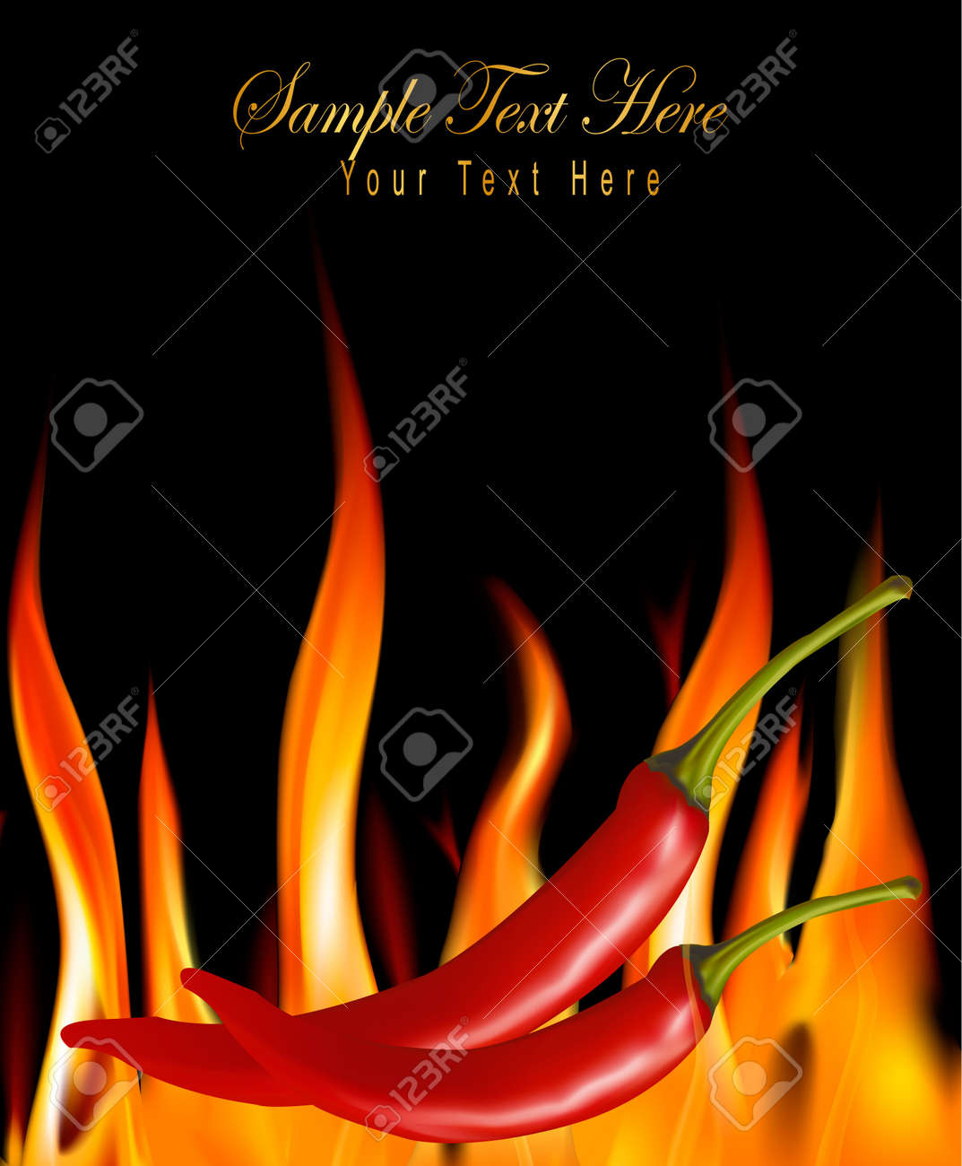 Hot chili peppers in fire. - 9935544
