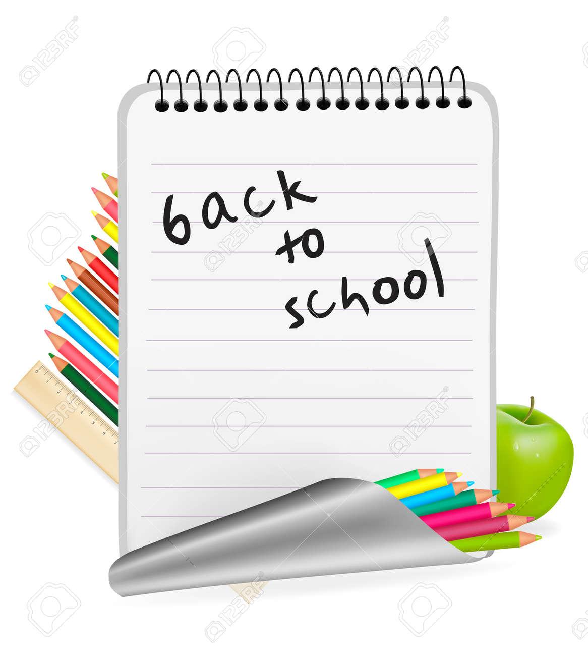 Back to school. Notepad with school supplies. Vector. Stock Vector - 10066697