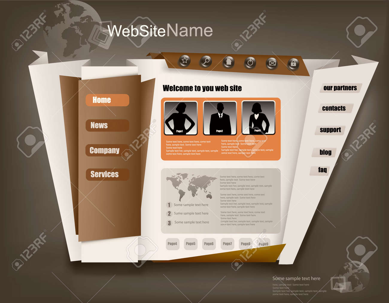 Business website design template. Vector illustration. Stock Vector - 10066694