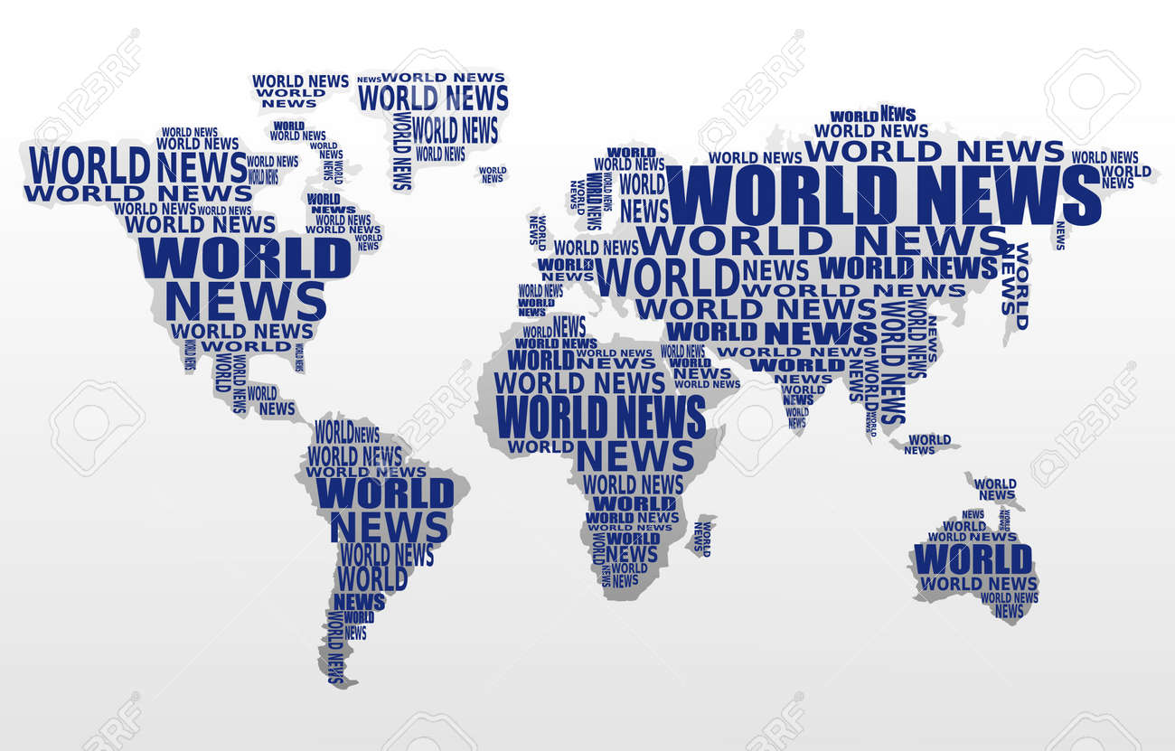 world news concept abstract world map made from world news words
