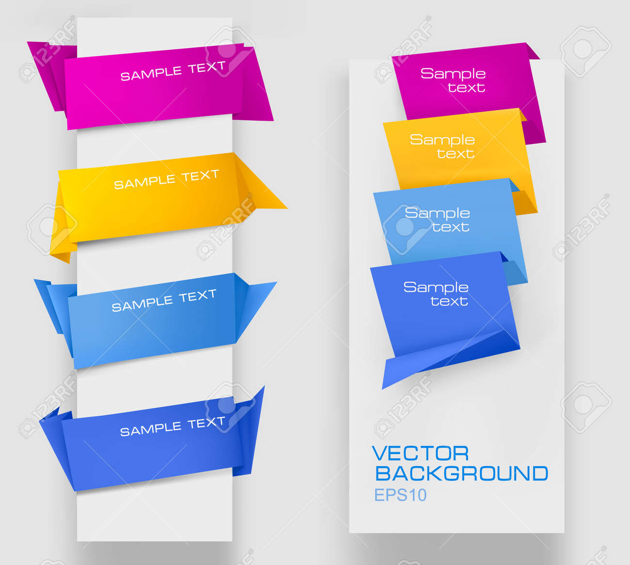 Set of colorful paper banners. Vector illustration. Stock Vector - 10351263