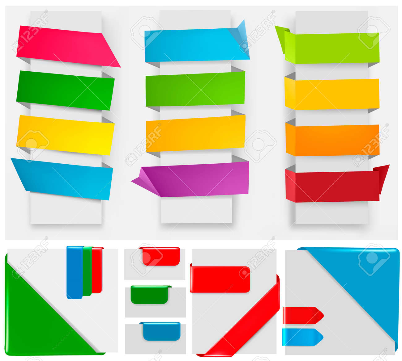 big collection of colorful origami paper banners and stickers