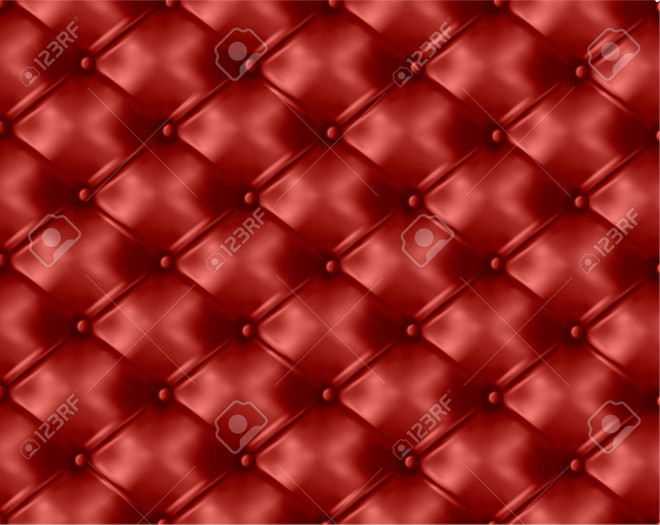 Red button-tufted leather background. Vector illustration. Stock Vector - 10945845