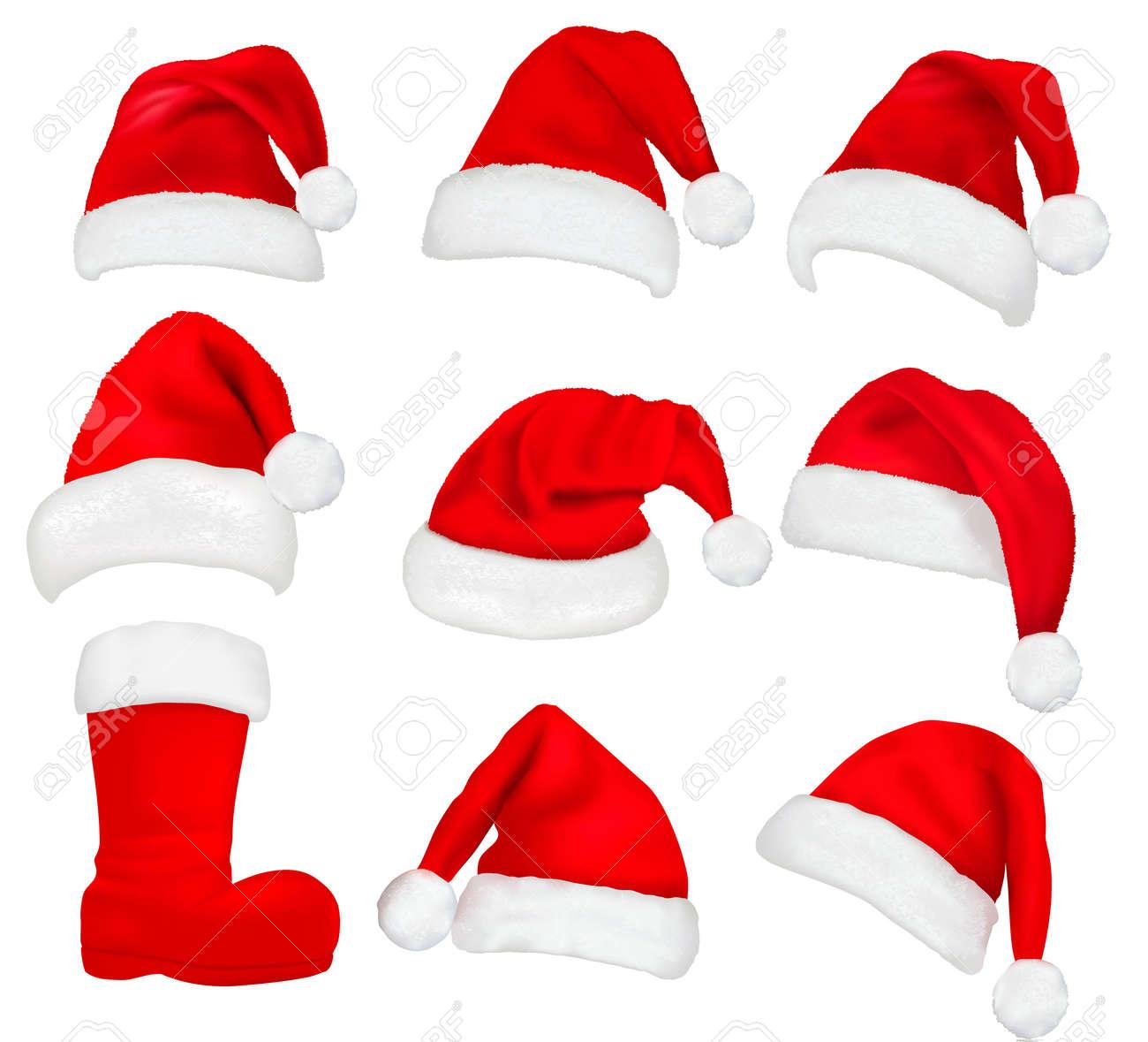 809b1107bdaa5 Big set of red santa hats and boot. Vector illustration. Stock Vector -  11145963