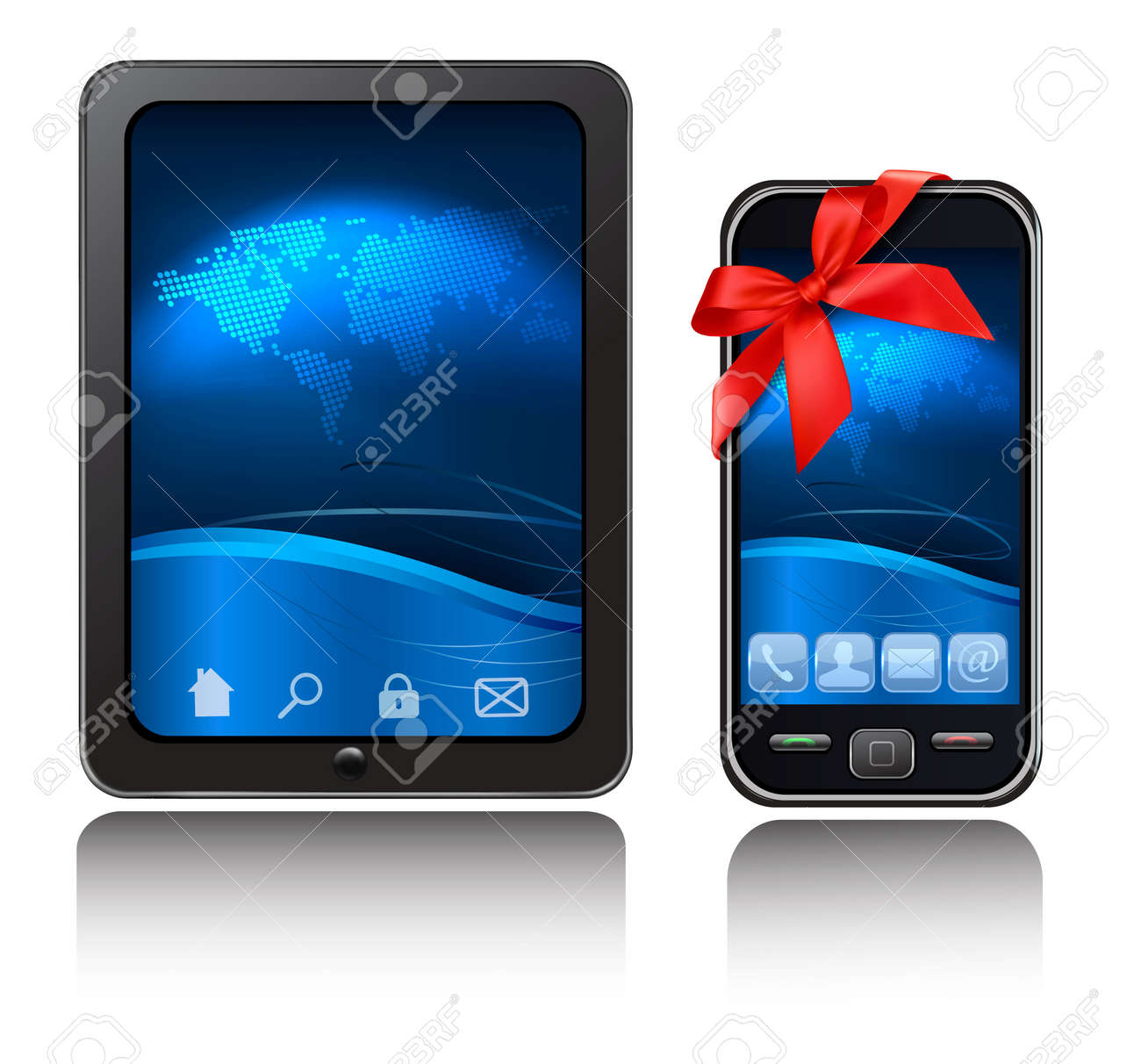A tablet computer and mobile phone with blue background and icons with red riboons. Vector. Stock Vector - 11145977