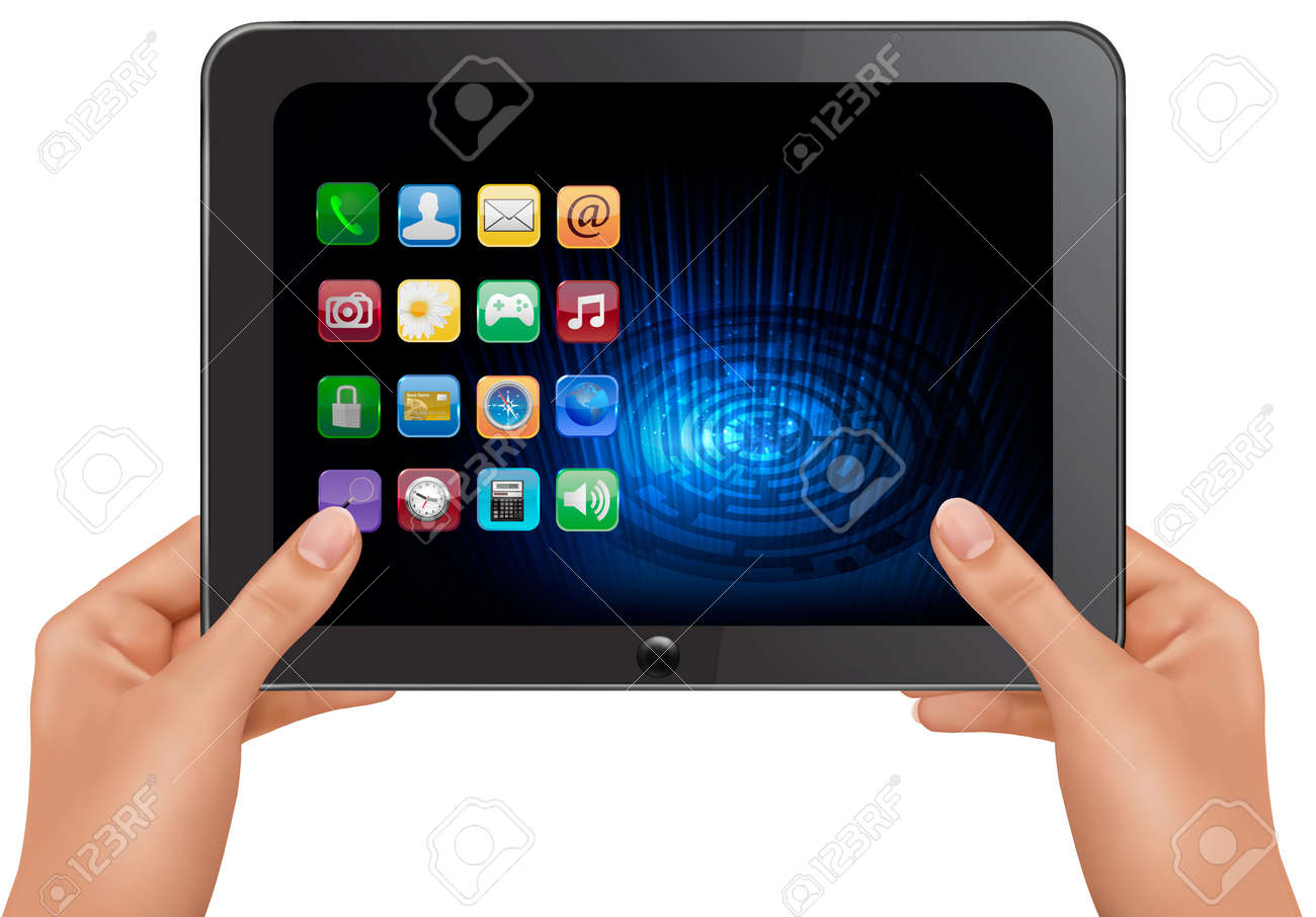 Hands holding digital tablet computer with icons. Vector illustration Stock Vector - 11145987