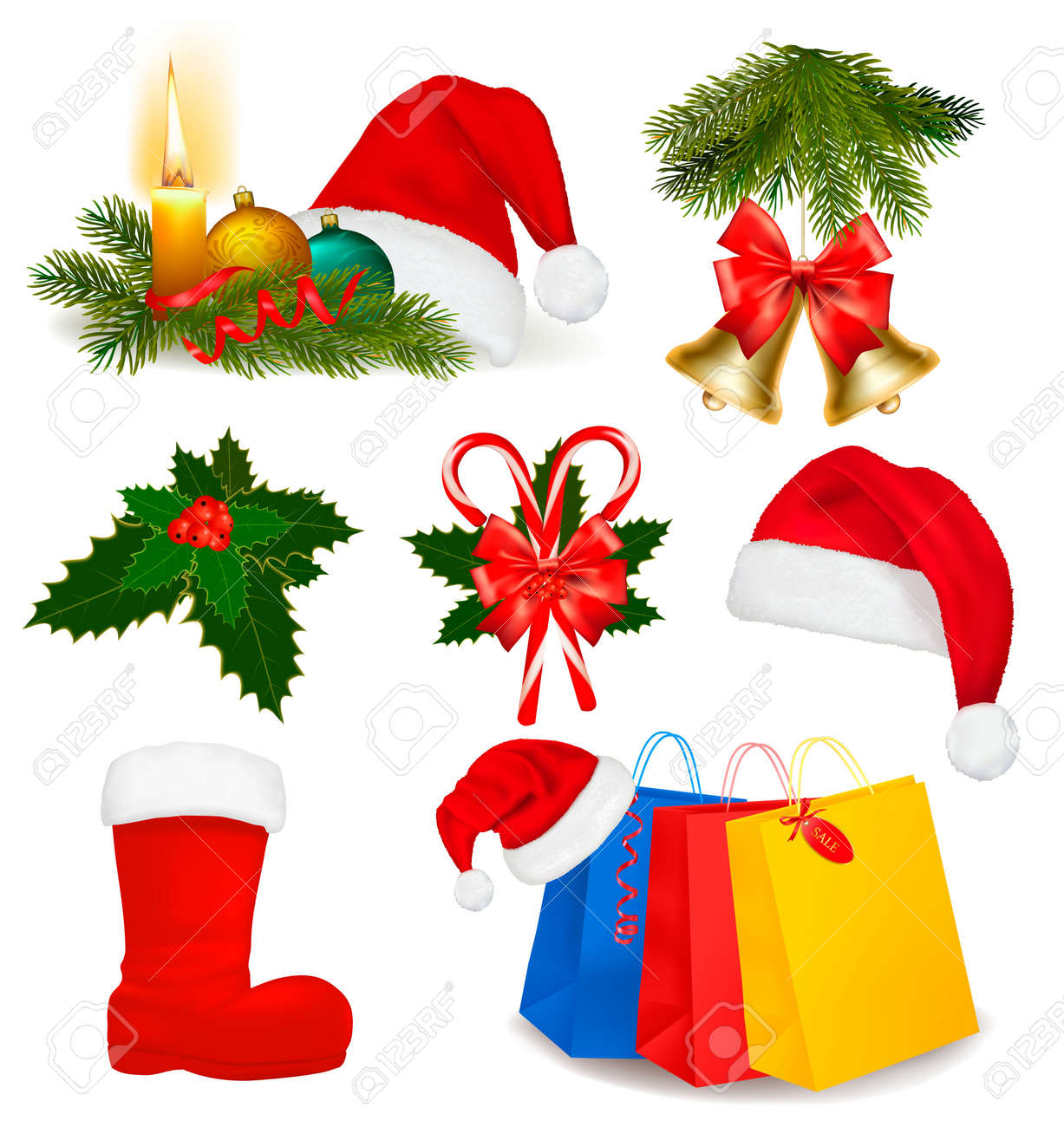 Set of Christmas objects. Vector. Stock Vector - 11271365