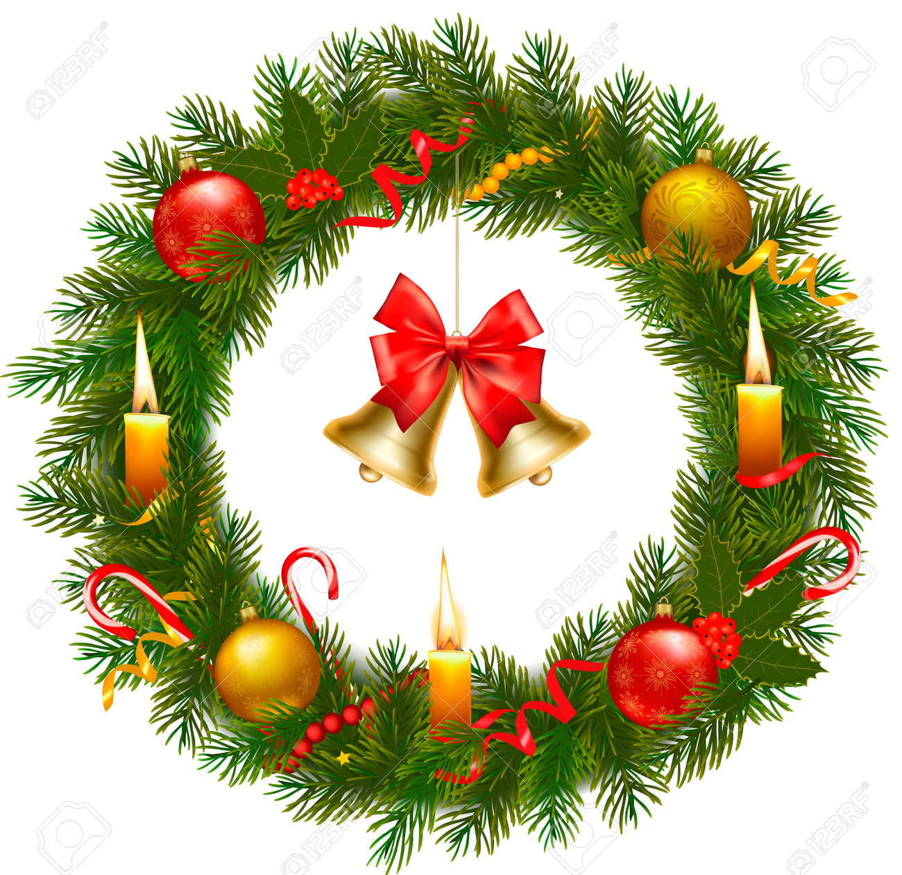 クリスマス ツリーとベル クリスマス リースベクトル イラストのイラスト