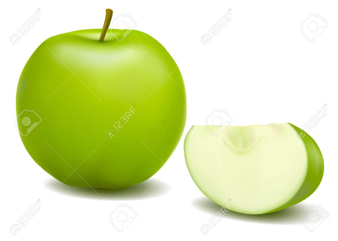 Fresh green apple. Vector. Stock Vector - 11271384