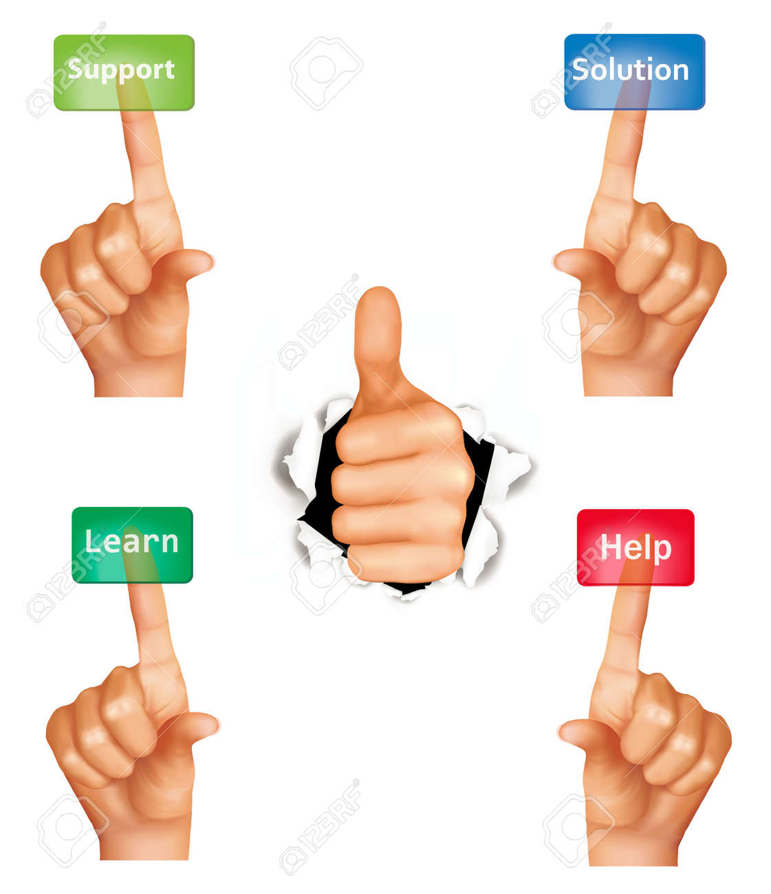 Set of hands pushing different buttons and thumb up. Vector. Stock Vector - 11387341