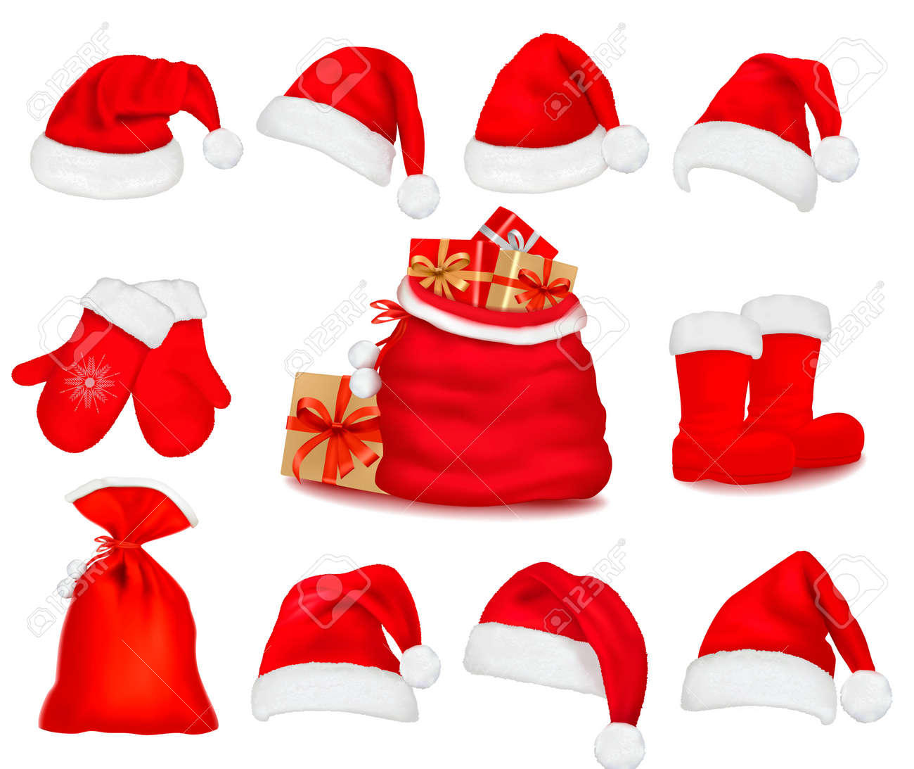 Big set of red santa hats and clothes and a gift bag. Vector illustration. - 11475984