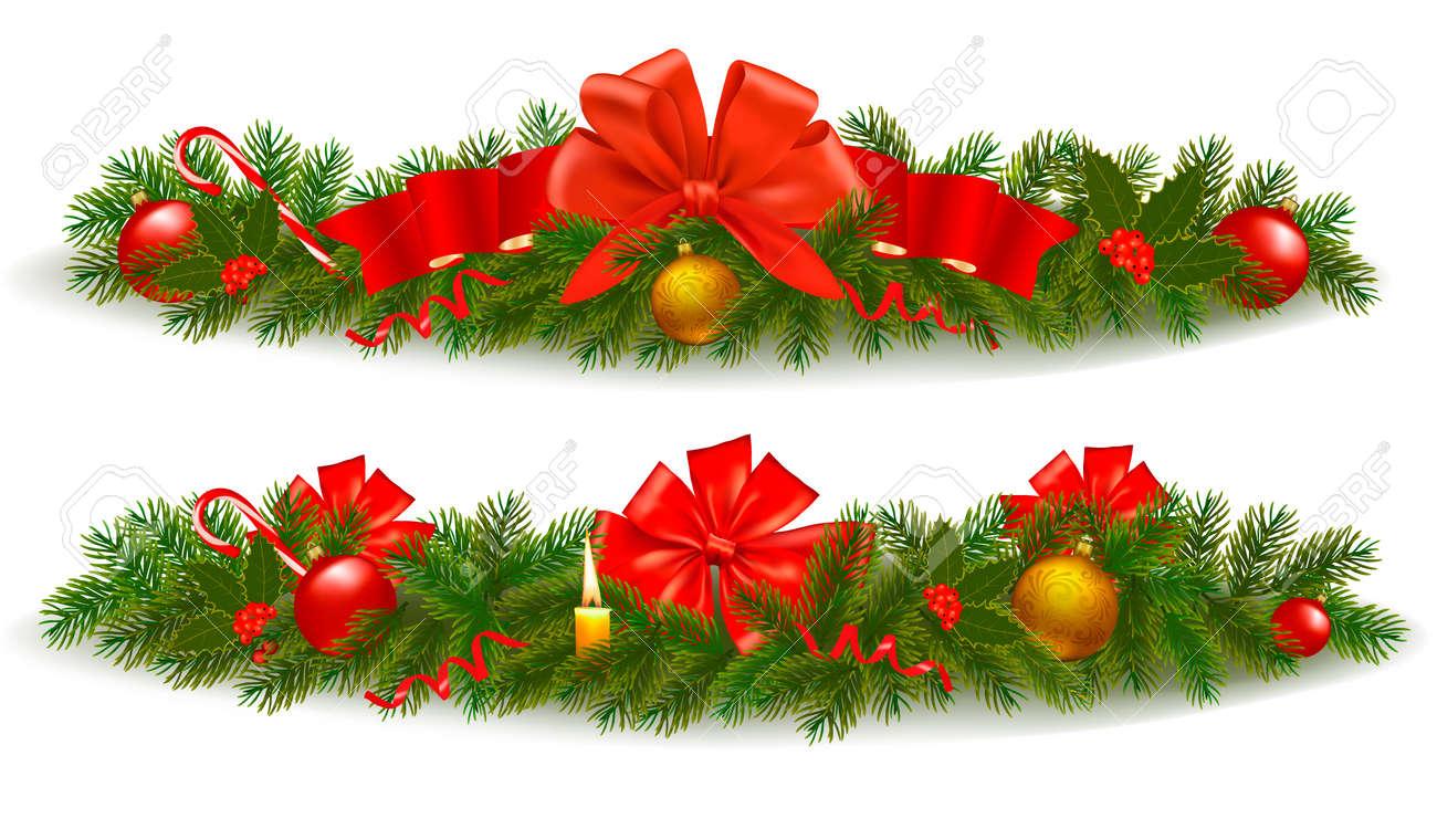 two holiday christmas garlands vector illustration foto de archivo 11757336 - Guirnaldas De Navidad
