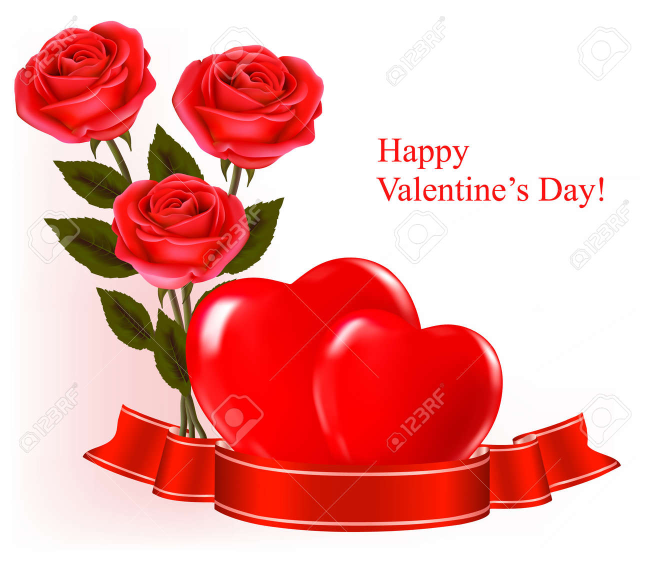Valentine`s day background. Red roses and gift red bow. Vector illustration. Stock Vector - 11757353