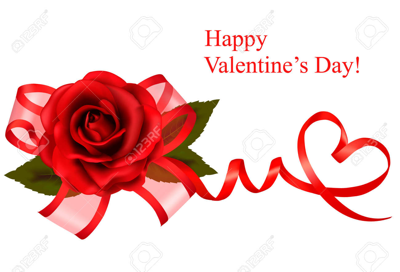 Valentine`s day background. Red rose with gift red bow. Vector illustration. Stock Vector - 11757351