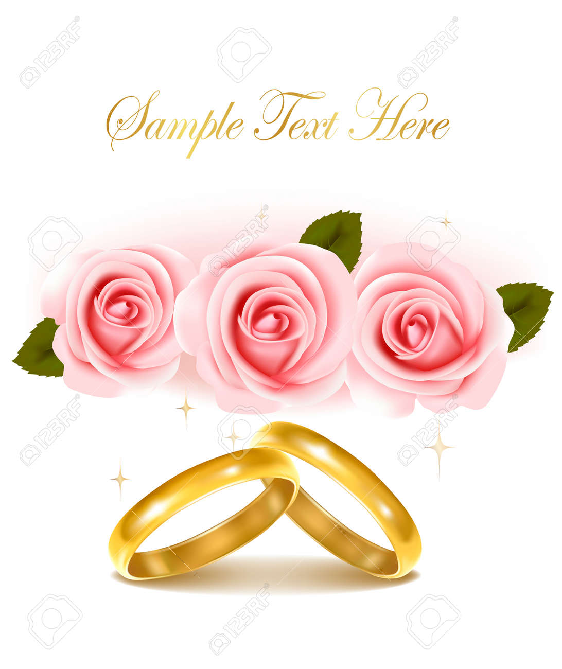 Background With Wedding Rings And Roses Bouquet. Vector Illustration ...