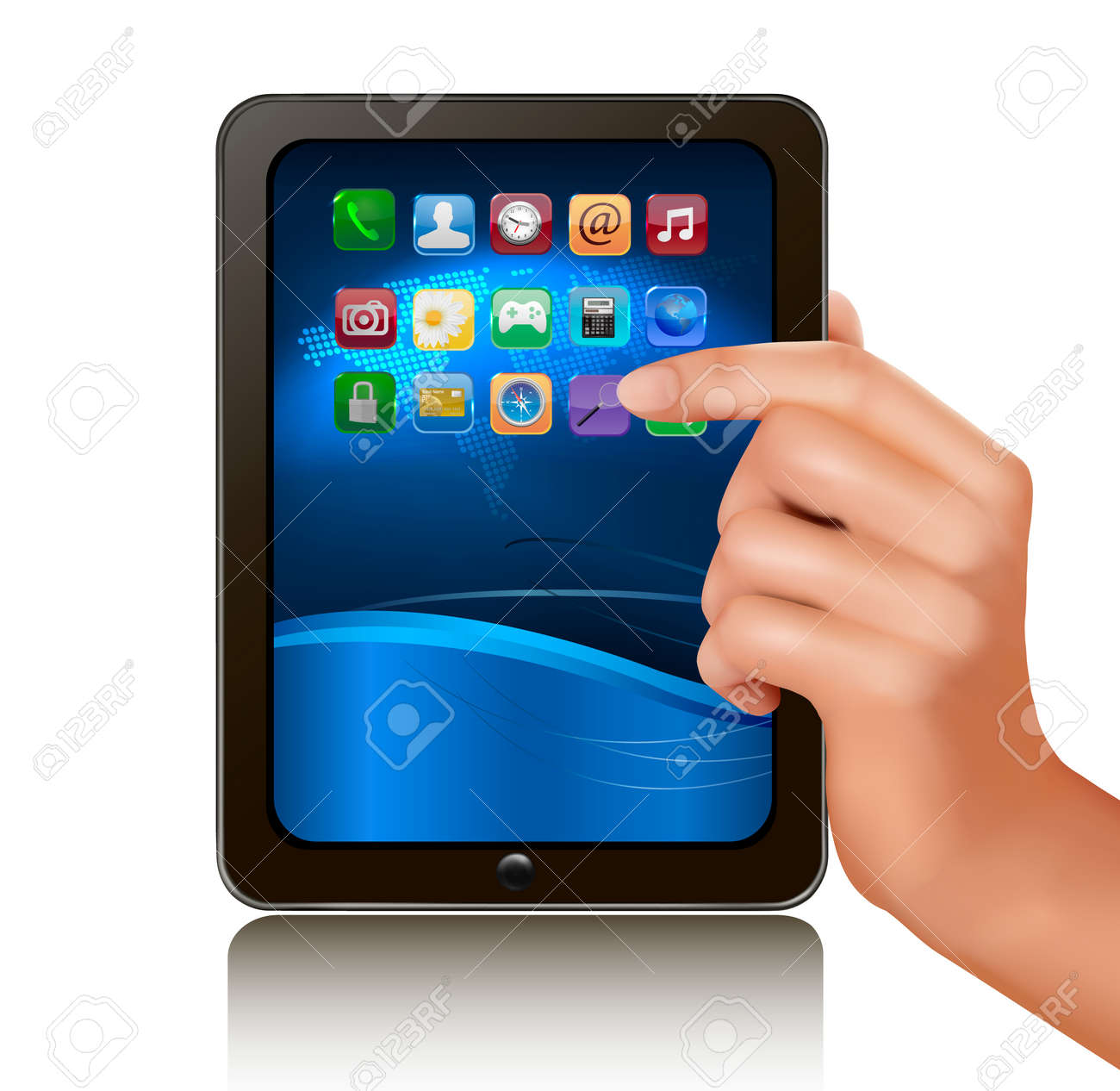 A hand holding digital tablet computer with icons. Vector illustration Stock Vector - 11973341