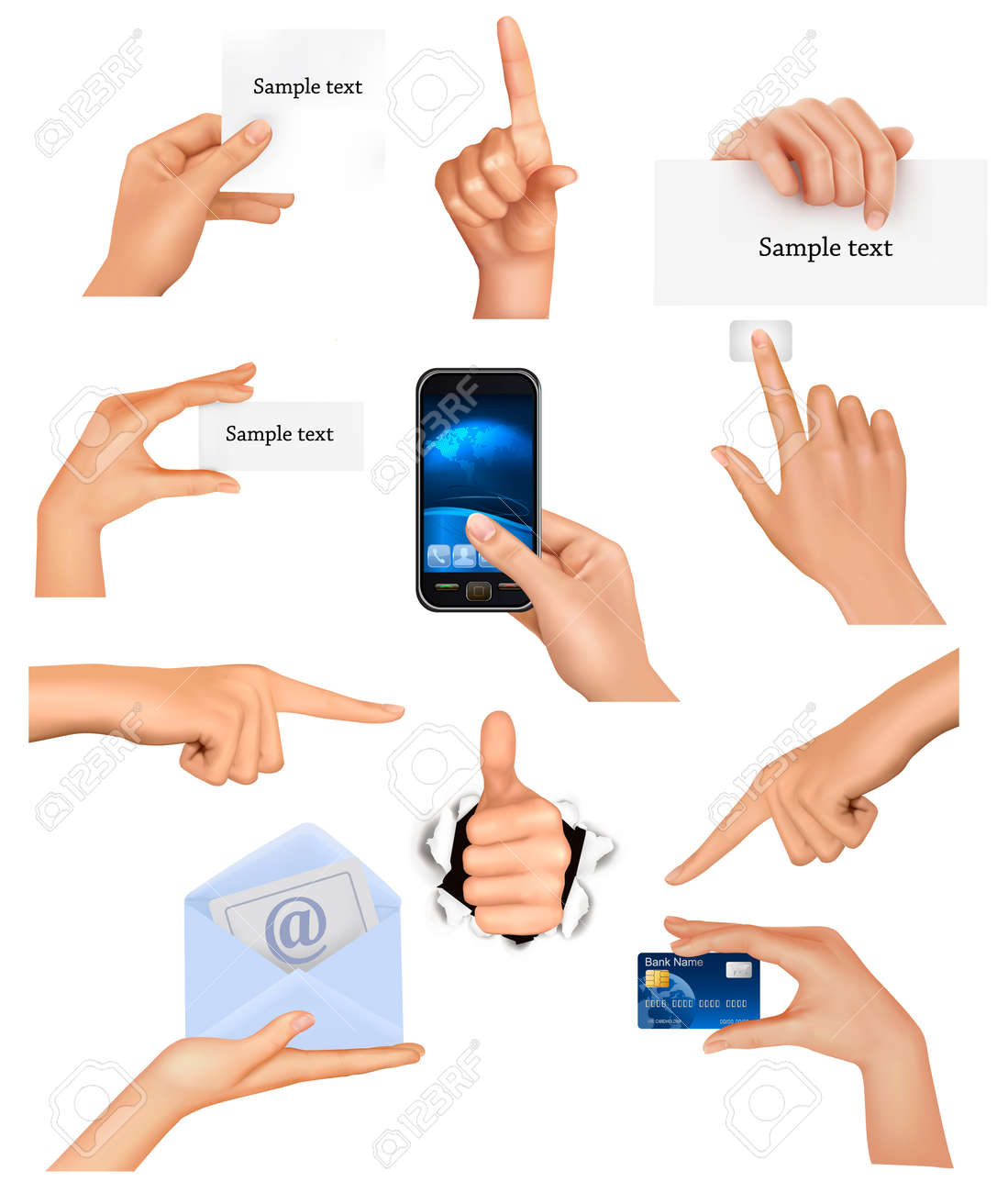 Set of hands holding different business objects. illustration Stock Vector - 12109020