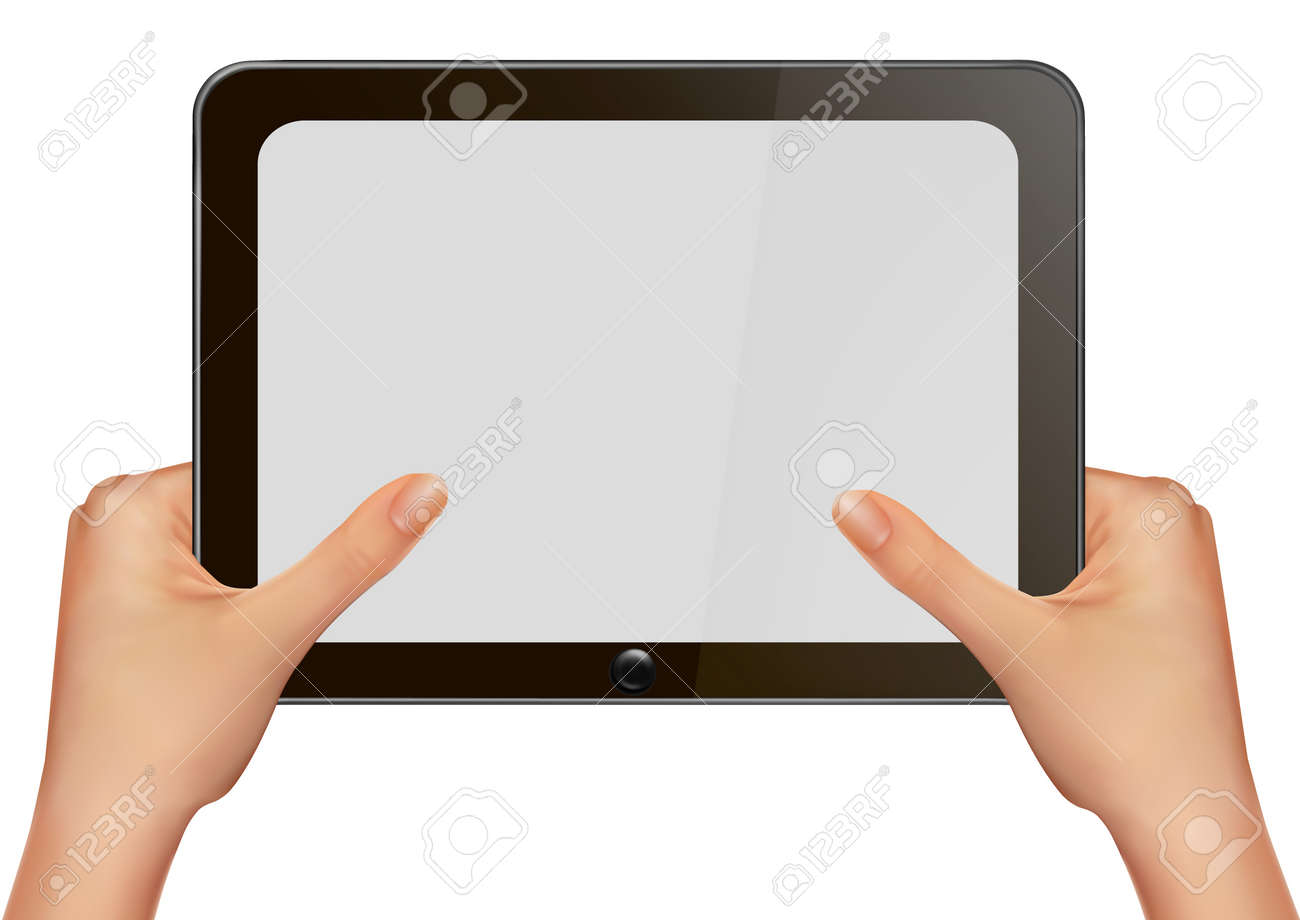 Hands holding digital tablet pc. Vector illustration Stock Vector - 12345863