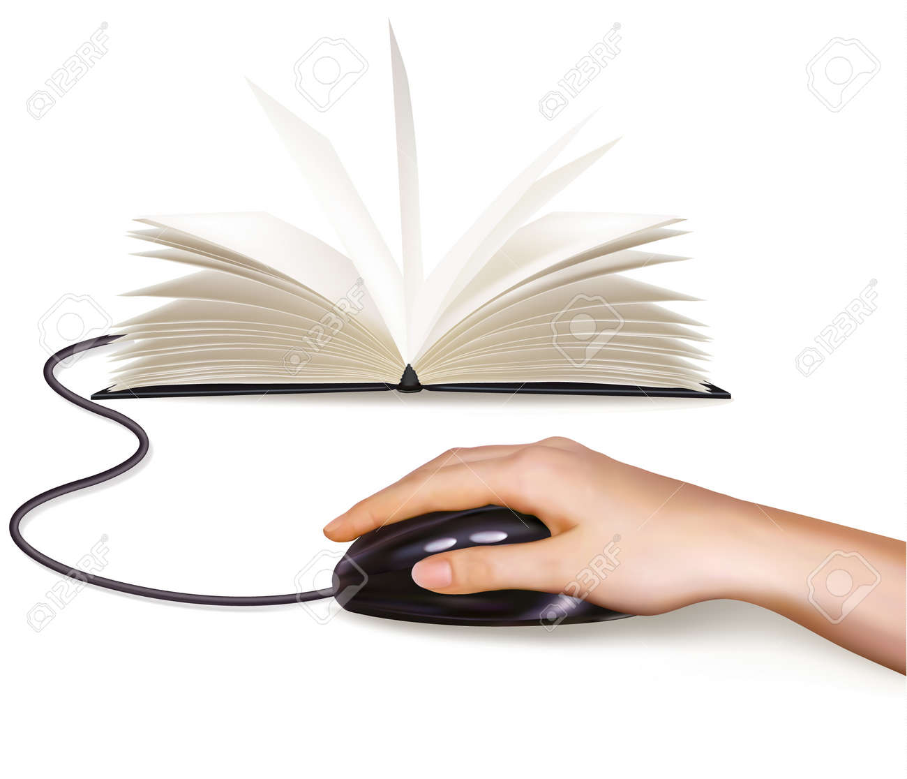 Hand with computer mouse and books  Vector illustration Stock Vector - 12595565