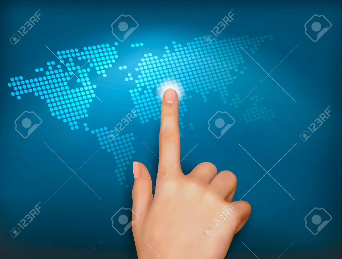 finger touching world map on a touch screen vector royalty free