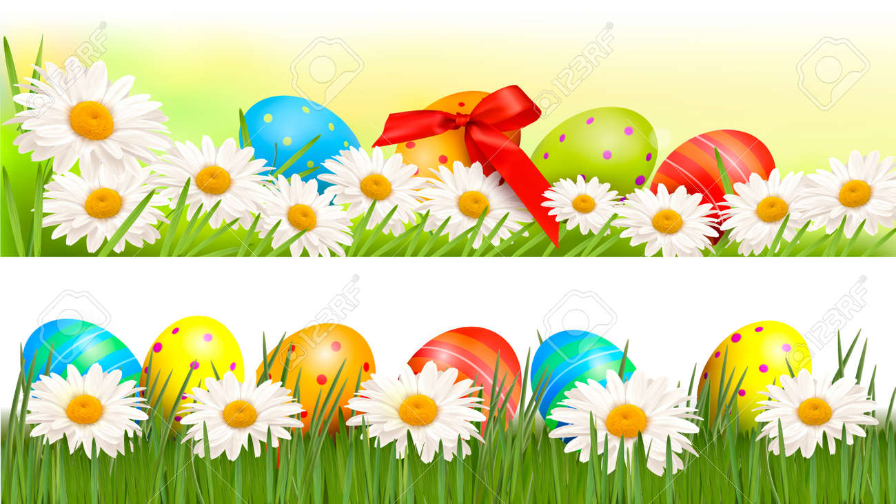 Two Easter Borders With Easter Eggs And Spring Flowers Royalty Free