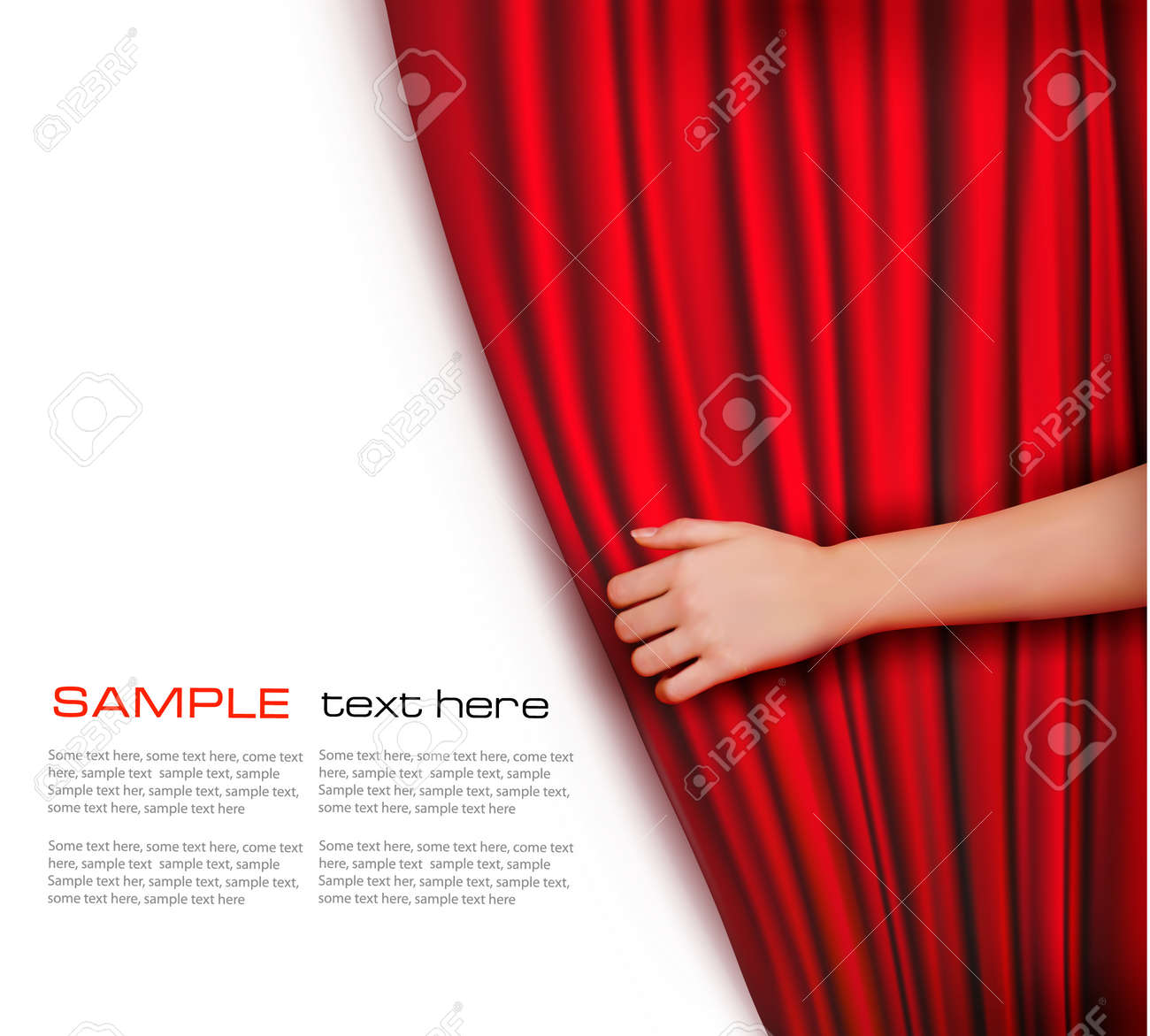 Background with red velvet curtain Vector illustration - 13110501