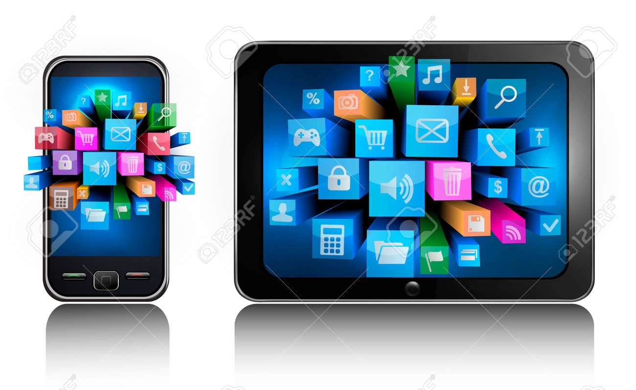 Mobile phone and tablet pc with colorful icons  Vector Stock Vector - 13929593