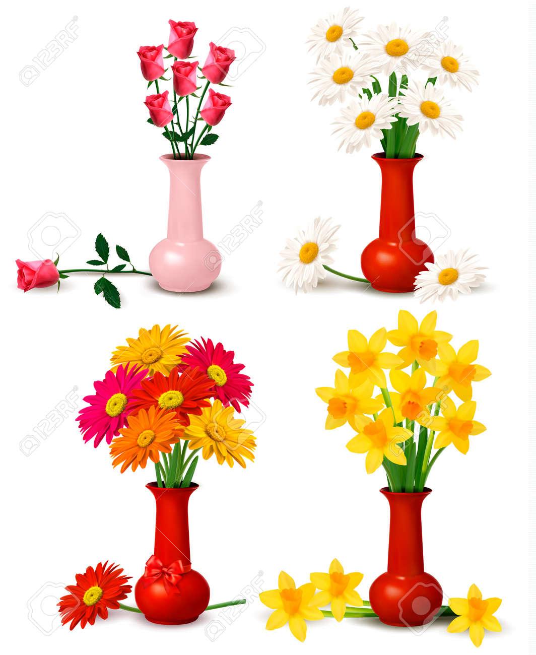 floreros con flores de primavera y verano coloridas flores en los floreros
