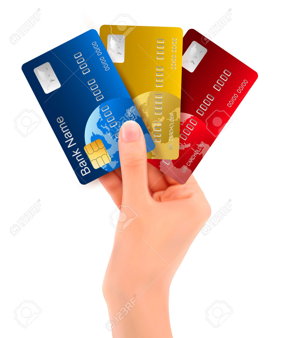 Male hand showing credit cards illustration Stock Vector - 14407542