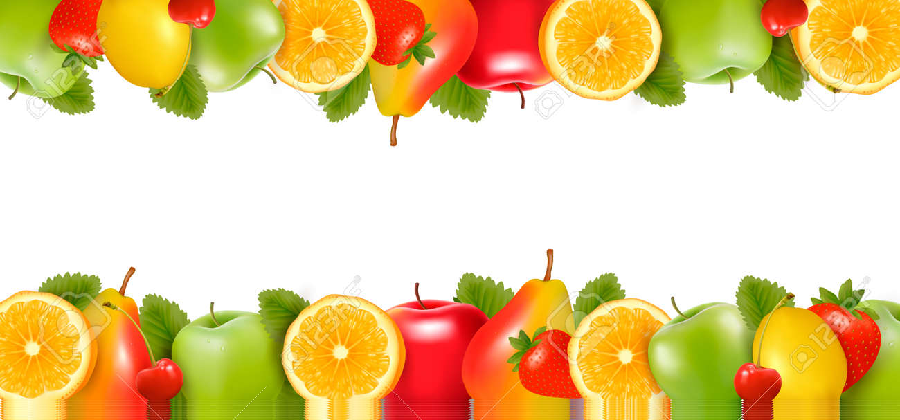 Two borders made of delicious ripe fruit. - 14407583