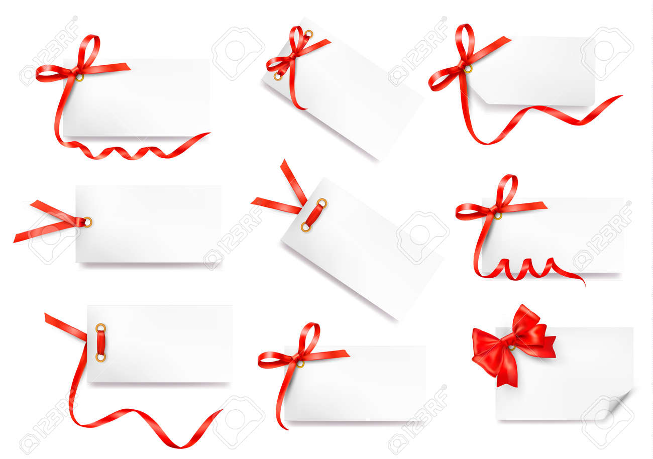 Set of card note with red gift bows with ribbons Vector Stock Vector - 14760035