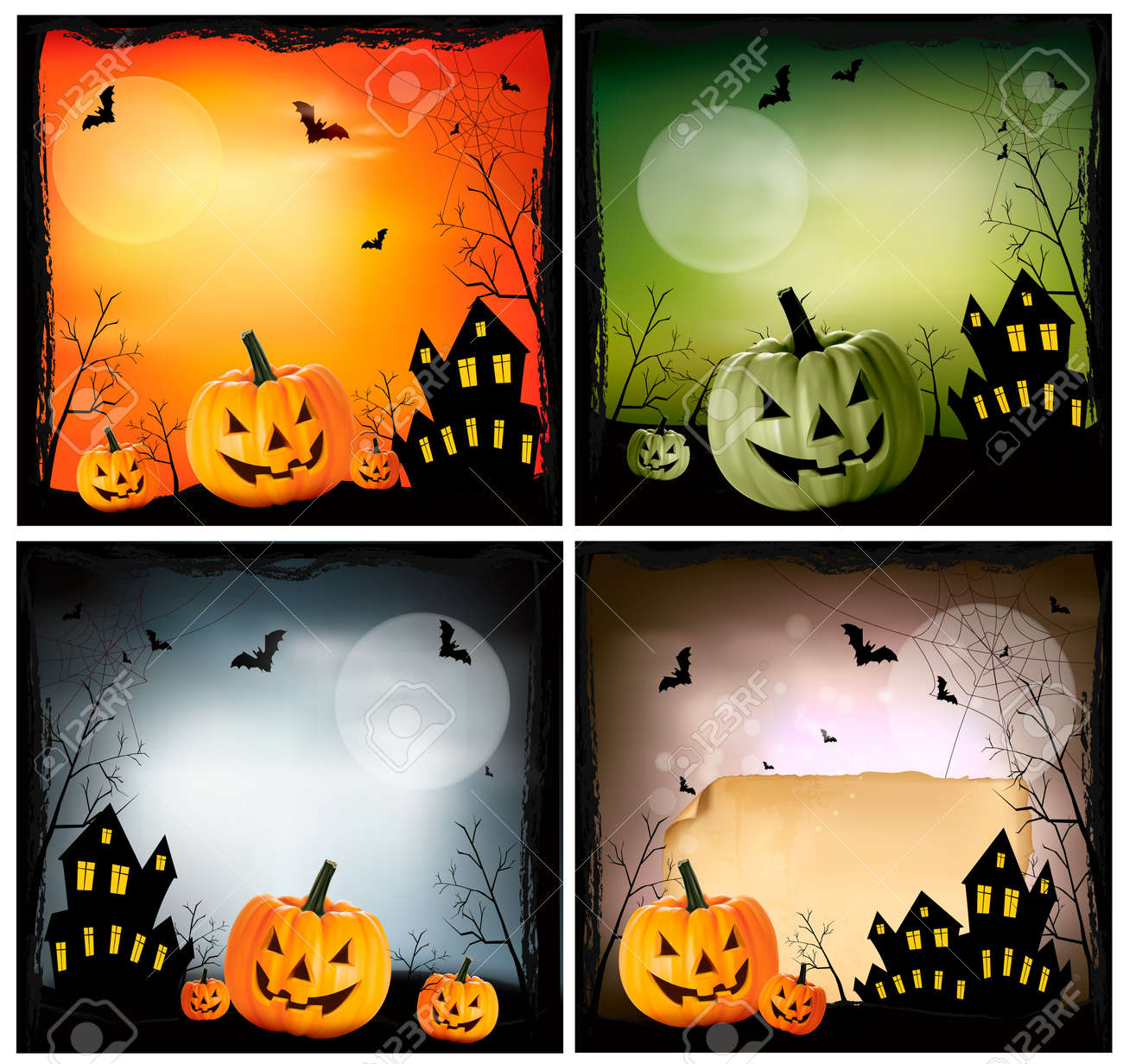 Four Halloween backgrounds Stock Vector - 15805703