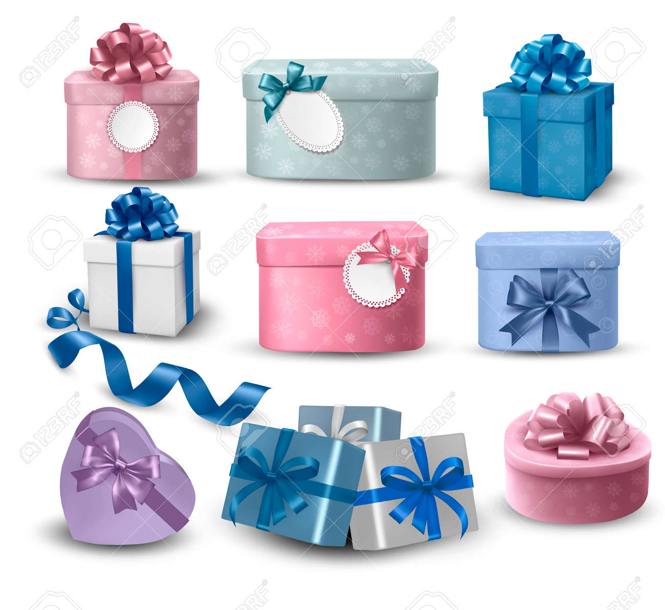 Set of colorful gift boxes with bows and ribbons Stock Vector - 16233654