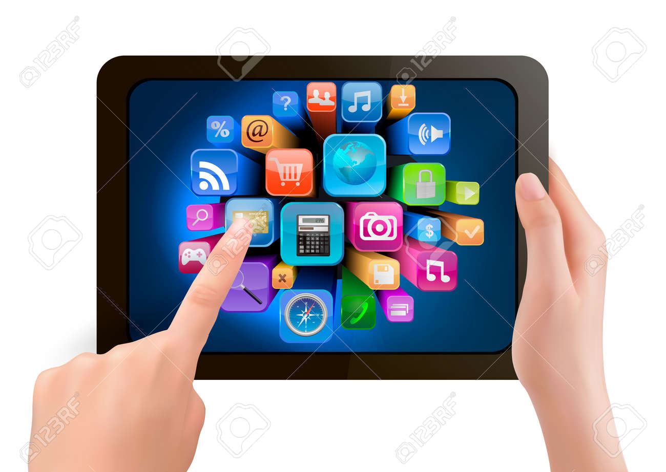 Hand holding touch pad pc and finger touching it's screen with icons. Vector. Stock Vector - 16824554