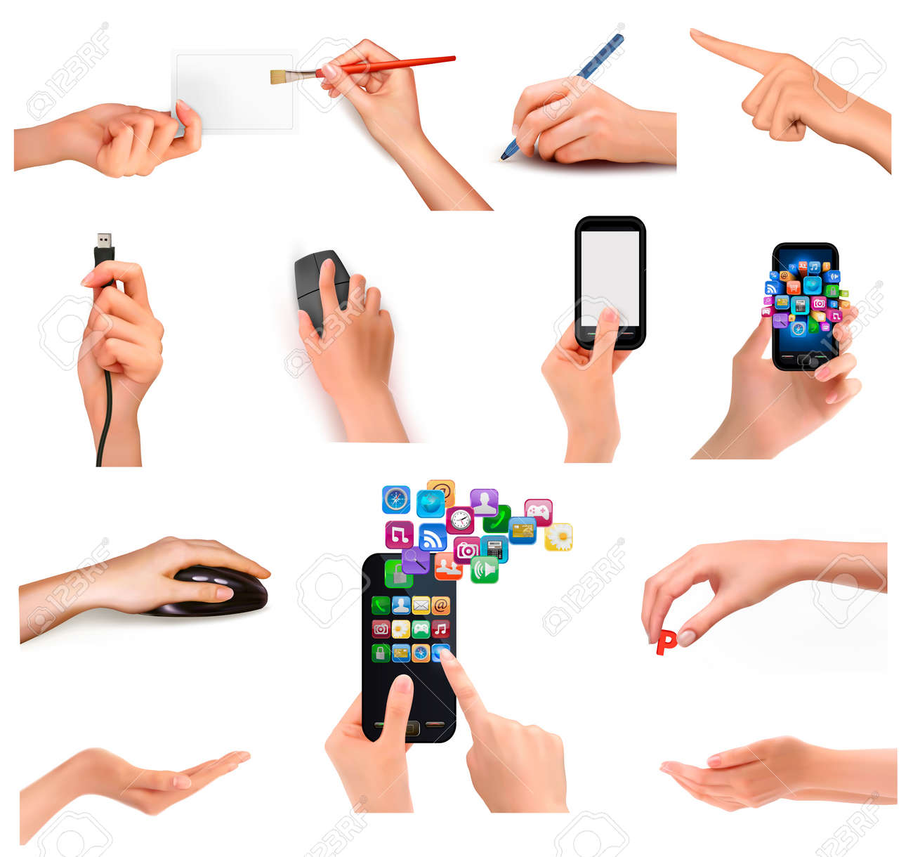 Collection of hands holding different business objects. Vector illustration Stock Vector - 17602178